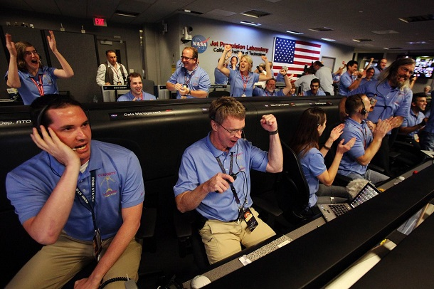 Quando o jipe Curiosity pousou em Marte, foi a maior comemoração. Uma vitória dos EUA teria levado a mesma empolgação (Foto: JPL/Nasa)